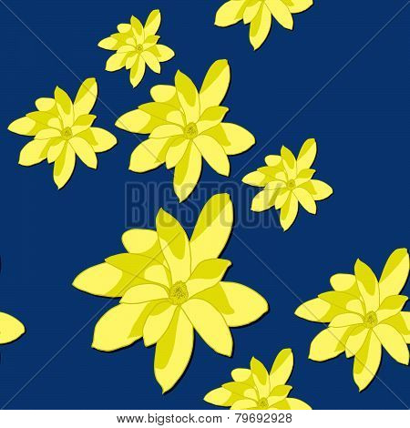 Seamless Pattern with Bright Yellow Magnolia Flowers on the Blue Background.