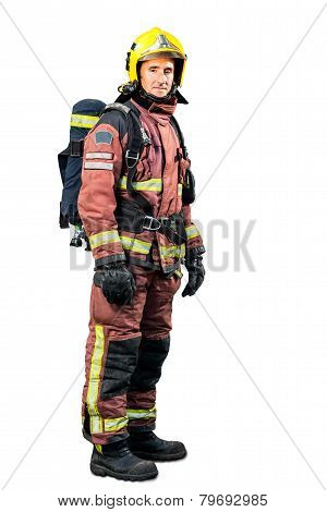 Full Length Portrait Of Fireman.