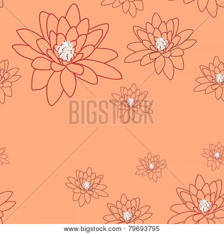 Delicate magnolia flowers on a creamy-pink. Seamless vector pattern.