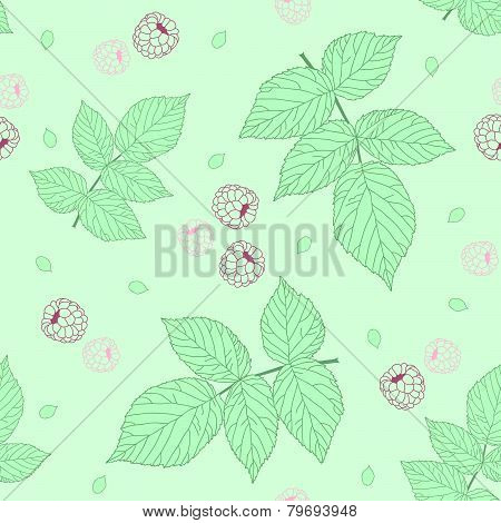 Raspberries and green raspberry leaves. Pastel colors. Light Seamless pattern.