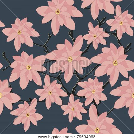 Pink Magnolia Branch on a Grey Background. Seamless Pattern.