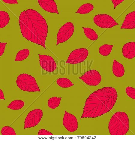 Contrast pink-red and dark yellow colored seamless pattern with raspberry leaves.