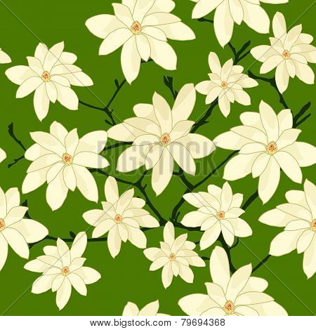 Seamless Pattern with White Magnolia Branch on a Green Background.
