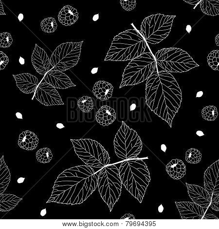 Simple black and white seamless pattern with raspberries
