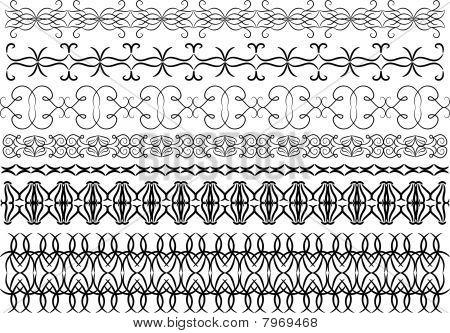 Black detailed trims or border over white background