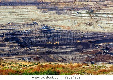 Very Large Excavators At Work In Lignite (brown Coal) Mine In Kozani, Greece.