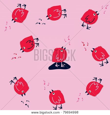 Funny Seamless Pattern with Singing Birds on a Pink Background.