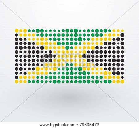 Jamaica Flag Composed Of Colorful Dots