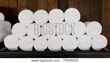 White Spa Towels Pile Ready To Use.