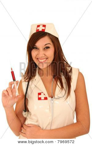 Smiling Nurse With Syringe