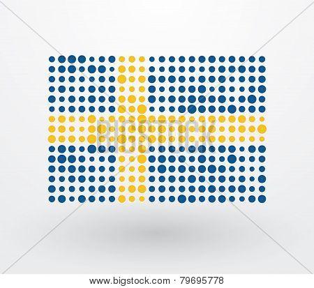 Swedish Flag Made up Of Dots