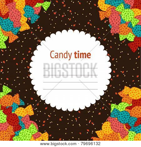 Birthday invitation. Sweet candies banner. Colorful flyer. Hand-drawn. Vector illustration.