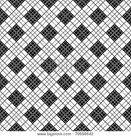 Chinese black and white motif. Plaid monochrome fabric background. Abstract seamless vector pattern.