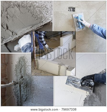 Collage worker plastering