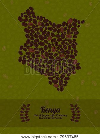 Kenya map made of roasted coffee beans. Vector illustration.