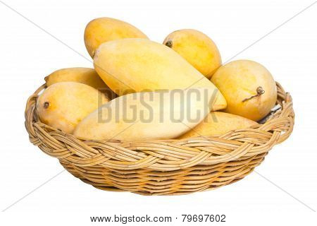 Ripe Mangoes In Rattan Basket Isolated On White.