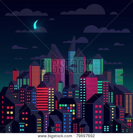 Colorful City At Night