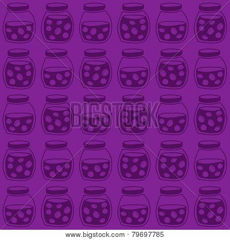 Plum jam jars. Dark seamless pattern. harvest backdrop.