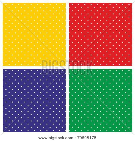 Tile vector pattern set with white polka dots on colorful red, yellow, green and blue background