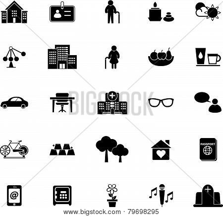 Retirement Community Icons On White Background