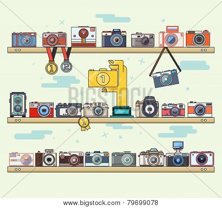 Photo Camera Icons Set On The Shelf