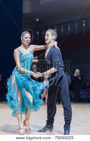 Professional belarussian dance couple of Tchernetzov Danila and Kushner Dariya performs Youth-2 Lati
