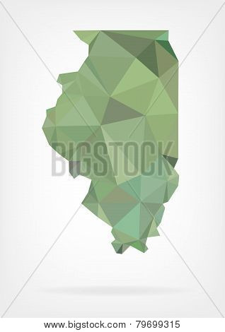 Low Poly map of Illinois state
