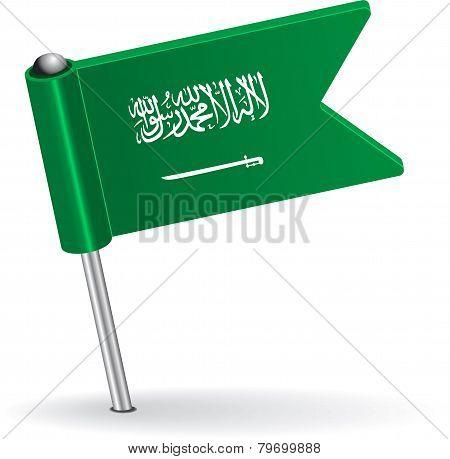 Saudi Arabia pin icon flag. Vector illustration