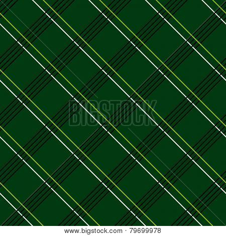 Abstract Seamless Pattern with Plaid Fabric on a dark green background.