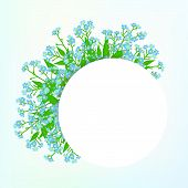 picture of flower shop  - Vector card with small blue flowers on shining sky blue background - JPG