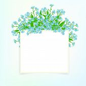 stock photo of small-flower  - Vector card with small blue flowers on shining sky blue background - JPG