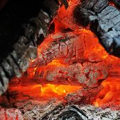 picture of ember  - Burning down fire with embers and ashes - JPG
