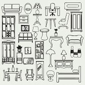 picture of interior sketch  - Set of simple doodle image of hand drawn of furniture and interior subjects - JPG