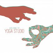 stock photo of mudra  - Logo for yoga studio - JPG