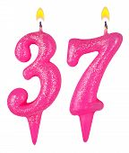 picture of number 7  - Birthday candles number thirty seven isolated on white - JPG