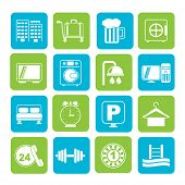 stock photo of motel  - Silhouette Hotel and motel icons  - JPG