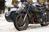 stock photo of cold-war  - RUSSIA LIZLOVO - DECEMBER 14: BMW R75 motorcircle on reenactment of the counterattack under the Moscow in 1941 in World War II in Moscow region Lizlovo village Russia 2014 ** Note: Visible grain at 100%, best at smaller sizes - JPG