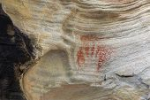 image of aborigines  - Aboriginal tribal hand print using red ochre found on a rock in bushland Australia - JPG