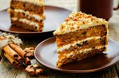 image of apricot  - carrot cake with walnuts prunes and dried apricots on a dark wood background - JPG