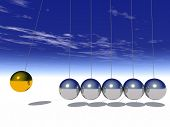 stock photo of newton  - Concept or conceptual 3D metal silver and gold creative sphere Newton cradle pendulum over a sky background - JPG