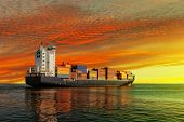 stock photo of ship  - Container ship at sunset in the sea - JPG