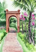picture of oasis  - Palm bamboo oasis with a path and decorative brick gate - JPG