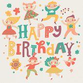 foto of cute kids  - Stylish Happy birthday background - JPG