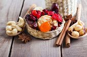 foto of mixed nut  - Mix of dried fruits berries and nuts - JPG