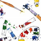 picture of arts crafts  - art background with palette - JPG