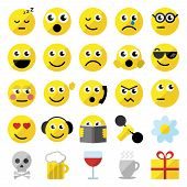 picture of emoticon  - Sef of 25 emoticons in flat design - JPG