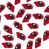 image of time-bomb  - dynamite bomb seamless pattern on white - JPG