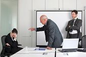 picture of business meetings  - Senior businessman reproaching businesswoman and satisfied young businessman behind them - JPG