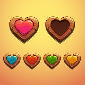 stock photo of oblong  - Set of cartoon wooden hearts - JPG