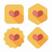 stock photo of ecg chart  - Ecg Heart Flat Icon With Long Shadow - JPG